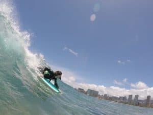 Waikiki body board student.