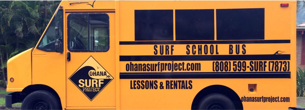 waikiki hawaii surf school bus