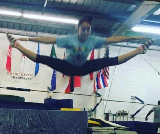 Jena-Noelani Jumping Off Pad During Gym Training